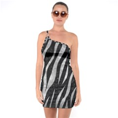 Skin3 Black Marble & Gray Metal 2 One Soulder Bodycon Dress by trendistuff