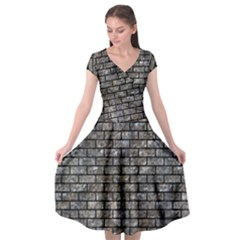 Brick1 Black Marble & Gray Stone (r) Cap Sleeve Wrap Front Dress by trendistuff