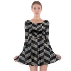 Chevron1 Black Marble & Gray Stone Long Sleeve Skater Dress by trendistuff