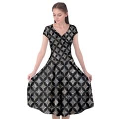 Circles3 Black Marble & Gray Stone (r) Cap Sleeve Wrap Front Dress by trendistuff