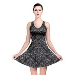 Damask1 Black Marble & Gray Stone Reversible Skater Dress by trendistuff