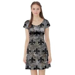 Royal1 Black Marble & Gray Stone Short Sleeve Skater Dress by trendistuff