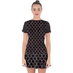 Scales1 Black Marble & Gray Stone Drop Hem Mini Chiffon Dress by trendistuff