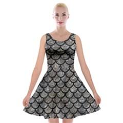 Scales1 Black Marble & Gray Stone (r) Velvet Skater Dress by trendistuff
