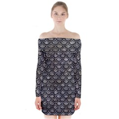 Scales2 Black Marble & Gray Stone (r) Long Sleeve Off Shoulder Dress by trendistuff