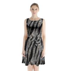 Skin3 Black Marble & Gray Stone (r) Sleeveless Waist Tie Chiffon Dress by trendistuff