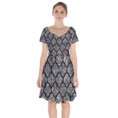 Tile1 Black Marble & Gray Stone (r) Short Sleeve Bardot Dress by trendistuff