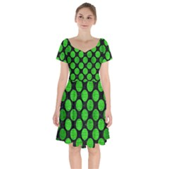 Circles2 Black Marble & Green Brushed Metal Short Sleeve Bardot Dress by trendistuff