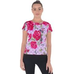 Shabby Chic,pink,roses,polka Dots Short Sleeve Sports Top  by 8fugoso