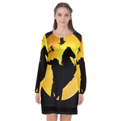 Headless Horseman Long Sleeve Chiffon Shift Dress  by Valentinaart