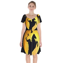 Headless Horseman Short Sleeve Bardot Dress by Valentinaart