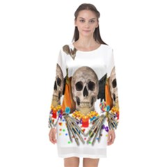 Halloween Candy Keeper Long Sleeve Chiffon Shift Dress  by Valentinaart