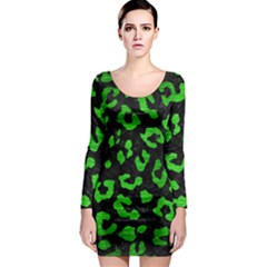 Skin5 Black Marble & Green Brushed Metal (r) Long Sleeve Bodycon Dress by trendistuff