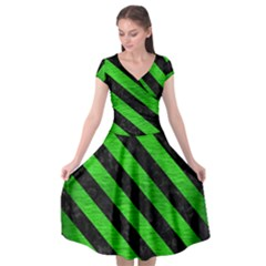 Stripes3 Black Marble & Green Brushed Metal (r) Cap Sleeve Wrap Front Dress by trendistuff