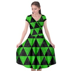 Triangle3 Black Marble & Green Brushed Metal Cap Sleeve Wrap Front Dress by trendistuff