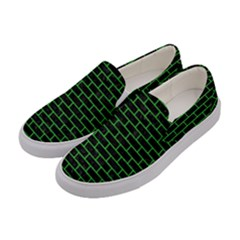 Brick1 Black Marble & Green Colored Pencil Women s Canvas Slip Ons by trendistuff