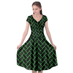 Brick2 Black Marble & Green Colored Pencil Cap Sleeve Wrap Front Dress by trendistuff