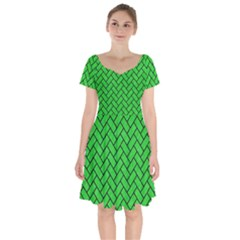 Brick2 Black Marble & Green Colored Pencil (r) Short Sleeve Bardot Dress by trendistuff