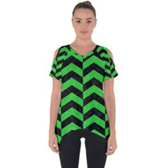 Chevron2 Black Marble & Green Colored Pencil Cut Out Side Drop Tee by trendistuff