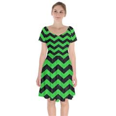 Chevron3 Black Marble & Green Colored Pencil Short Sleeve Bardot Dress by trendistuff