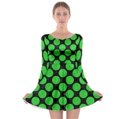 Circles2 Black Marble & Green Colored Pencil Long Sleeve Skater Dress by trendistuff