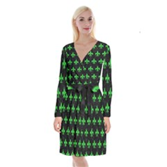 Royal1 Black Marble & Green Colored Pencil (r) Long Sleeve Velvet Front Wrap Dress by trendistuff