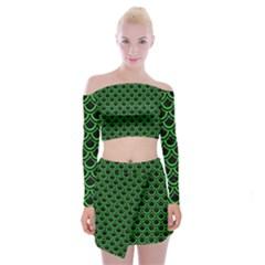 Scales2 Black Marble & Green Colored Pencil Off Shoulder Top With Mini Skirt Set by trendistuff