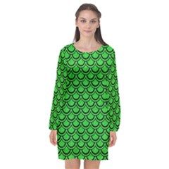 Scales2 Black Marble & Green Colored Pencil (r) Long Sleeve Chiffon Shift Dress  by trendistuff