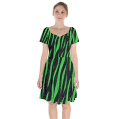 Skin3 Black Marble & Green Colored Pencil Short Sleeve Bardot Dress by trendistuff