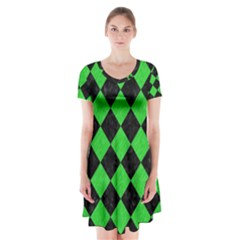 Square2 Black Marble & Green Colored Pencil Short Sleeve V Neck Flare Dress by trendistuff