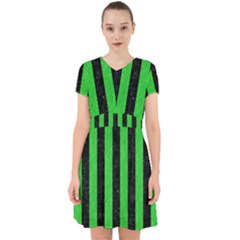 Stripes1 Black Marble & Green Colored Pencil Adorable In Chiffon Dress by trendistuff
