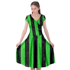 Stripes1 Black Marble & Green Colored Pencil Cap Sleeve Wrap Front Dress by trendistuff