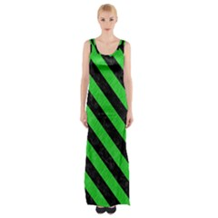 Stripes3 Black Marble & Green Colored Pencil (r) Maxi Thigh Split Dress by trendistuff