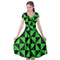 Triangle1 Black Marble & Green Colored Pencil Cap Sleeve Wrap Front Dress by trendistuff