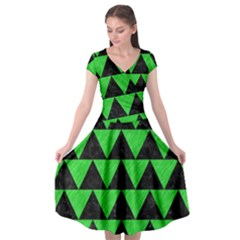 Triangle2 Black Marble & Green Colored Pencil Cap Sleeve Wrap Front Dress