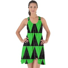 Triangle2 Black Marble & Green Colored Pencil Show Some Back Chiffon Dress by trendistuff