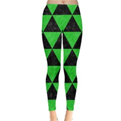 Triangle3 Black Marble & Green Colored Pencil Leggings  by trendistuff