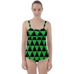 Triangle3 Black Marble & Green Colored Pencil Twist Front Tankini Set