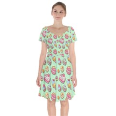 Sweet Pattern Short Sleeve Bardot Dress by Valentinaart