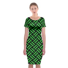Woven2 Black Marble & Green Colored Pencil Classic Short Sleeve Midi Dress by trendistuff