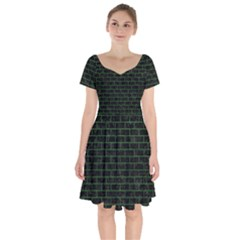 Brick1 Black Marble & Green Leather Short Sleeve Bardot Dress by trendistuff