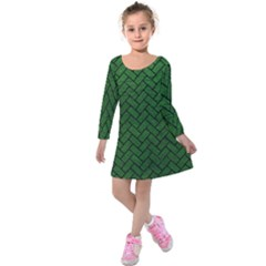 Brick2 Black Marble & Green Leather (r) Kids  Long Sleeve Velvet Dress