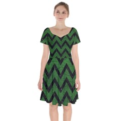Chevron9 Black Marble & Green Leather (r) Short Sleeve Bardot Dress by trendistuff