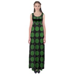 Circles1 Black Marble & Green Leather Empire Waist Maxi Dress by trendistuff