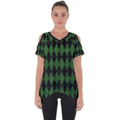 Diamond1 Black Marble & Green Leather Cut Out Side Drop Tee by trendistuff