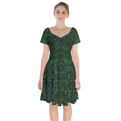 Damask2 Black Marble & Green Leather (r) Short Sleeve Bardot Dress by trendistuff