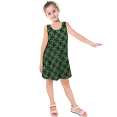 Houndstooth2 Black Marble & Green Leather Kids  Sleeveless Dress by trendistuff