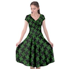 Houndstooth2 Black Marble & Green Leather Cap Sleeve Wrap Front Dress