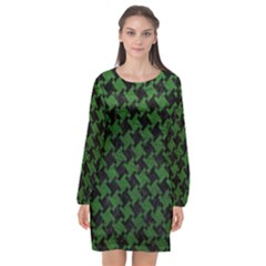 Houndstooth2 Black Marble & Green Leather Long Sleeve Chiffon Shift Dress  by trendistuff