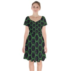 Hexagon2 Black Marble & Green Leather Short Sleeve Bardot Dress by trendistuff